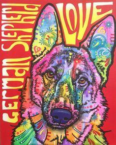 GS Animal Paintings, Animal Drawings, German Shepherd Dogs, German Shepherds, Abstract Animals, Zen Art, Rainbow Art, Arte Pop, Dean Russo