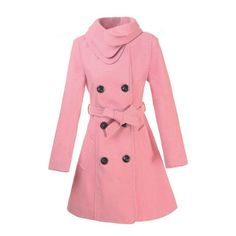 New Women's Fashionable Warm Winter Long Sleeve Woolen Coat ($32) ❤ liked on Polyvore