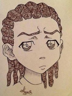 swirls and curls Sketchbook Inspiration, Art Sketchbook, Cartoon Drawings, Art Drawings, Boondocks Drawings, Trap Art, Black Art Pictures, Cartoon Profile Pictures, Black Girl Art