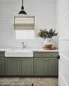 """Austin King on Instagram: """"How do you hue? When it comes to laundry room cabinets, are you team color, team neutral, or do you cheer for both? . . . #rafterhouse…"""" Sage Green Kitchen, Green Kitchen Cabinets, Kitchen Cabinet Colors, Kitchen Redo, Kitchen Colors, Home Decor Kitchen, Kitchen Interior, New Kitchen, Home Kitchens"""