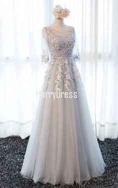 359849caf33 Floor Length Gray A Line Lace Sequined Appliques Flowers Long Prom Dress  Lace Beading