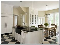 Black and white kitchen. Like the light fixtures