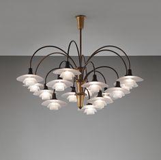 """Poul Henningsen, Fifteen-armed """"Cascade"""" ceiling light, type 1/1 shades"""