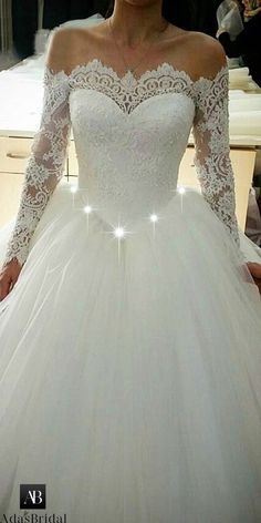 Elegant Tulle Off-the-shoulder Neckline Basque Waistline Ball Gown Wedding  Dress With Beaded 9b42ab73c1