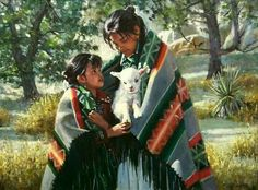 Two Navajo girls with a Lamb