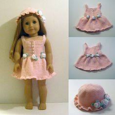 Ravelry: PDF Crochet Pattern - Dress and Hat to American Girl Doll or similar 18 inch Doll pattern by Susanne Fågelberg