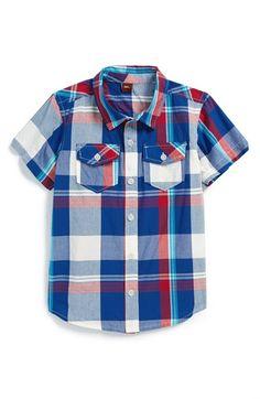 Tea Collection 'Brahma' Plaid Cotton Shirt (Toddler Boys & Little Boys)