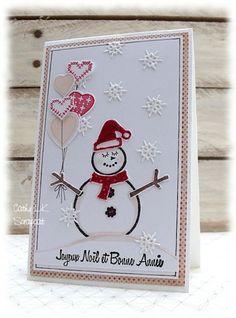 Christmas card cute snowman