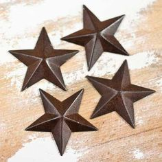 Mini Rustic Tin Dimensional Stars, 1 1/2 inches wide, Rusted