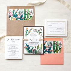 Desert Cactus Wedding Invitations, Burlap, Kraft, Coral, Bohemian Invites, Floral Envelope Liners -