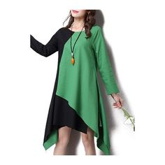 Rotita Round Neck Green Long Sleeve Asymmetric Dress ($30) ❤ liked on Polyvore featuring dresses, green, long-sleeve maxi dresses, patchwork dresses, sleeved dresses, pattern dress and green dress