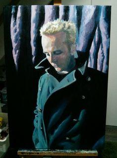 'Self-portrait, blonde hair, vintage coat' by Dr. Mata Haggis, 2013. Oil on Canvas. 70x100cm
