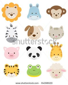 Vector illustration of animal faces. by JungleOutThere, via ShutterStock
