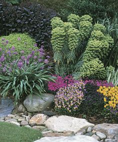 In the front yard, the streambed is edged by a manicured lawn and a perennial border that reflects the homeowners' passion for gardening and affection for bold colors