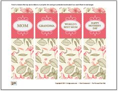 free mother's day bookmarks printable (including on for grandma) plus a black and white version for kids to color by liviglocurto    http://www.livinglocurto.com/2011/05/free-coloring-sheet/