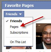how to create a favorite page list in FB
