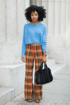"""13 Street-Style Stars, 13 Fall Fashion Tips #refinery29  http://www.refinery29.com/54445#slide15  Kitty Cash, DJTip: Plaid is rad.  """"As soon as fall comes around, I think everyone runs to their favorite black jeans and moto jacket, but sometimes I like to break things up with colors and prints. Plaid is the perfect way to do it! I like pairing my plaid pieces with chunky knits, neutral colors, and of course, something black.""""Shop Kitty's look here.   Topshop sweater; Vintage pants; A.L.C…"""