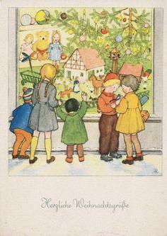 WEIHNACHTEN - Kinder vor dem Weihnachtsschaufenster - ANITA RAHLWES, blanco   eBay
