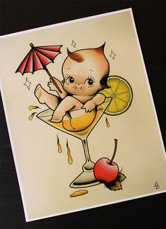 The DrinKewpie 11x14 Tattoo Flash Print Other sizes by Yukittenme.....etsy