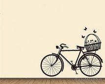 Bicyclette avec fleur panier Wall Decal, autocollant moto avec fleur, sticker vinyle à bicyclette pour salon, chambre à coucher, papillons autocollants #M25