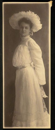Narrow Antique Photo Woman Very Large Hat White Dress Early 1900s