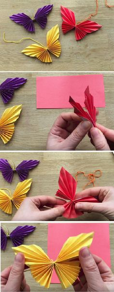 blumen basteln mit kindern aus papier tinker flowers with children out of paper Origami Diy, Origami Design, Origami Paper, Origami Folding, Easy Paper Crafts, Diy Paper, Paper Crafting, Diy Crafts, Paper Ribbon