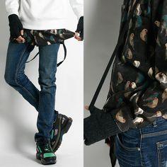 Remember Click/Suspender Denim Jeans Skinny Pants Men's Korean P0000IGZ #RememberClick #SlimSkinny