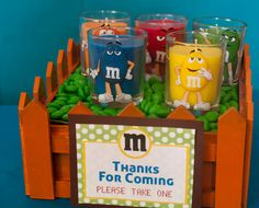 M Character Images on Glass Votive Jars