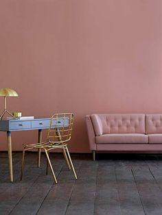 comment assortir les couleurs dans le salon, murs de salon de couleur rose pale