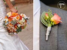 Coral wedding flowers | succulents