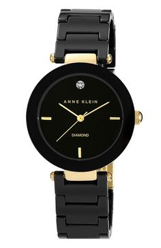 Free shipping and returns on Anne Klein Round Ceramic Bracelet Watch, 33mm at Nordstrom.com. A single diamond inlay at 12 o'clock adds sparkle to a sleek fashion watch set on a stylish ceramic link bracelet.