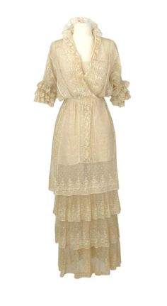 Dress, Alice Maynard: ca. 1913, American, lawn and embroidered net panels with point d'esprit, trimmed with lace ruffles and triple-tiered Valencienne lace ruffled cuff.