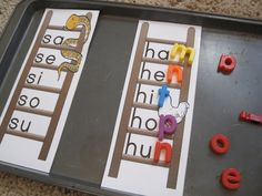 "Magnetic spelling fun. Easy printable ""ladders"" and dollar store letter magnets."