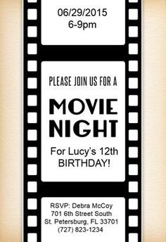 Family Movie Night Night parties Party invitations and Free printable