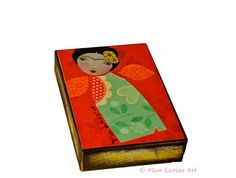 Frida Original  ACEO Giclee print mounted on Wood 25 by FlorLarios, $10.00