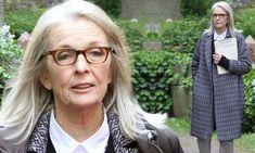 21889cccdc02 Diane Keaton looks chic in a tweed coat for Hampstead alongside Brendan  Gleeson Julia Roberts