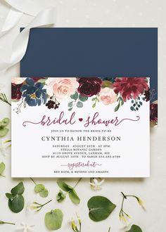 Custom Bridal Shower Invitations Floral Bridal Shower Invitations Bridal Shower Invitations Printed Invitation Cards #wdiBI-96