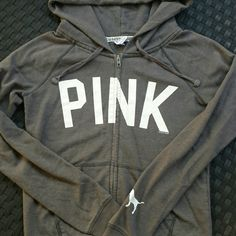 PINK Victoria Secret grey sweater Zipper all the way down, draw string hood, could fit small or medium, good used condition. Very minor wear from just being worn and washed but no rips or stains PINK Victoria's Secret Sweaters