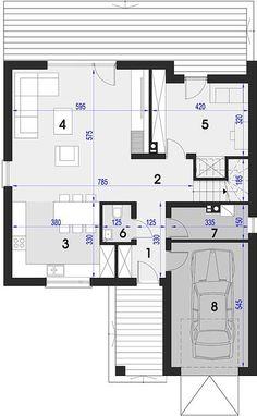 Projekt domu Maja 133,72 m² - koszt budowy - EXTRADOM Duplex Design, Three Bedroom House, Bungalow, House Plans, Villa, Floor Plans, Construction, Flooring, How To Plan