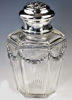 French Sterling Silver Decanter, Tea Caddy or Condiments/Vanity Jar