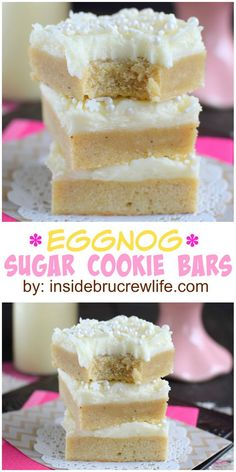 Eggnog Sugar Cookie Bars: Two times the eggnog in these easy cookie bars will satisfy all the eggnog lovers this holiday. Holiday Baking, Christmas Desserts, Christmas Treats, Christmas Goodies, Sugar Cookie Bars, Easy Sugar Cookies, Just Desserts, Dessert Recipes, Eggnog Cookies