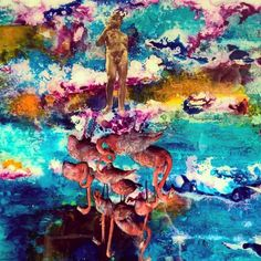 God And the Flamingos# Contemporary Art# modern Art# Imagination# Heavenly # Colourful # pigments # Love# Harmonic # cement.