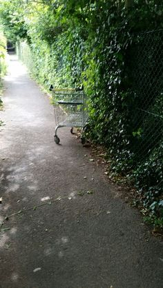 Escaped shopping trolley