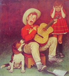 The Music Man by Norman Rockwell.  this is how I feel when my brother practices his chello