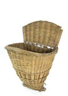 """""""A large woven wicker harvesting basket"""" by Unknown (Lot Number 46)   Mossgreen Auctions (Art Auctions), Melbourne"""
