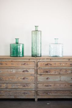 found home distressed cabinet and glass jars / sfgirlbybay ~ I want those draws.