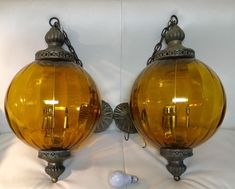 Pair - Vintage Amber Glass Hanging Ceiling Swag Orb Globe Light Lamp Mid Century