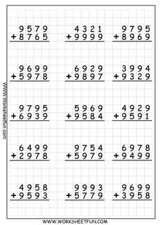 4 Digit Addition With Regrouping – Carrying – 9 Worksheets / FREE Printable Worksheets – Worksheetfun Math Division Worksheets, Printable Multiplication Worksheets, 4th Grade Math Worksheets, Free Printable Worksheets, Addition With Regrouping Worksheets, Fourth Grade Math, Second Grade Math, Montessori Math, Homeschool Math