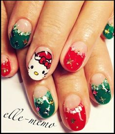 christmas hello kitty #nail #nails #nailart  If only the hello kitty wasn't on there..