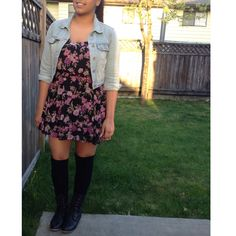 Floral dress with cropped jean jacket and military combat boots